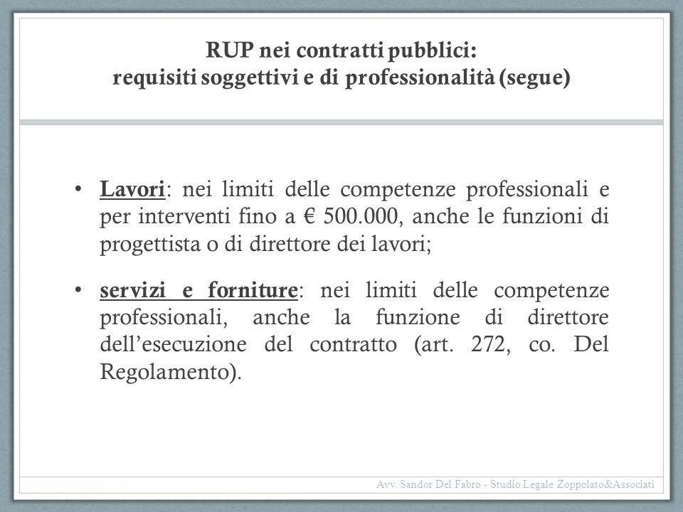 RUP nei contratti pubblici: requisiti soggettivi e di professionalità (segue)