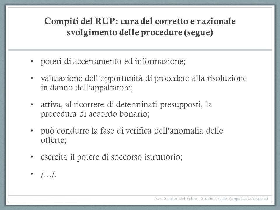 Compiti del RUP: cura del corretto e razionale svolgimento delle procedure (segue)