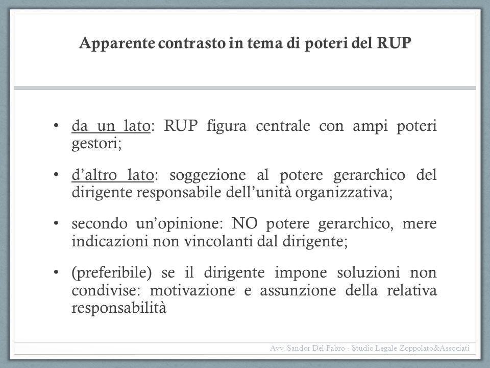 Apparente contrasto in tema di poteri del RUP