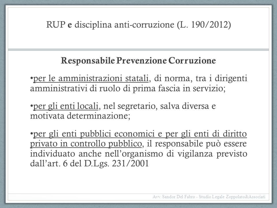 RUP e disciplina anti-corruzione (L. 190/2012)