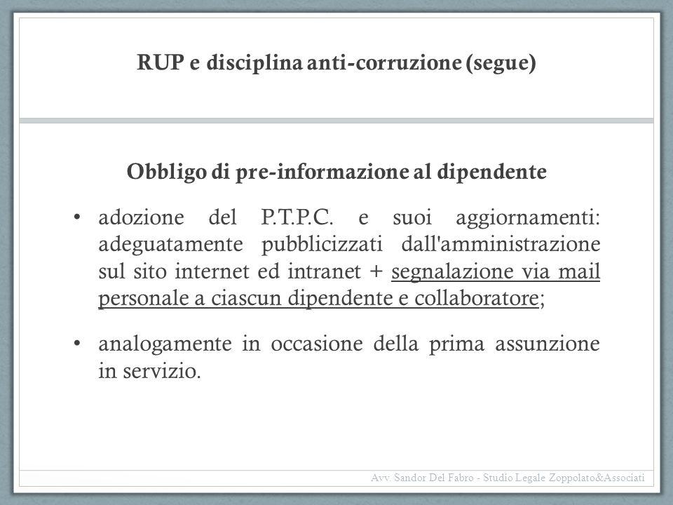 RUP e disciplina anti-corruzione (segue)