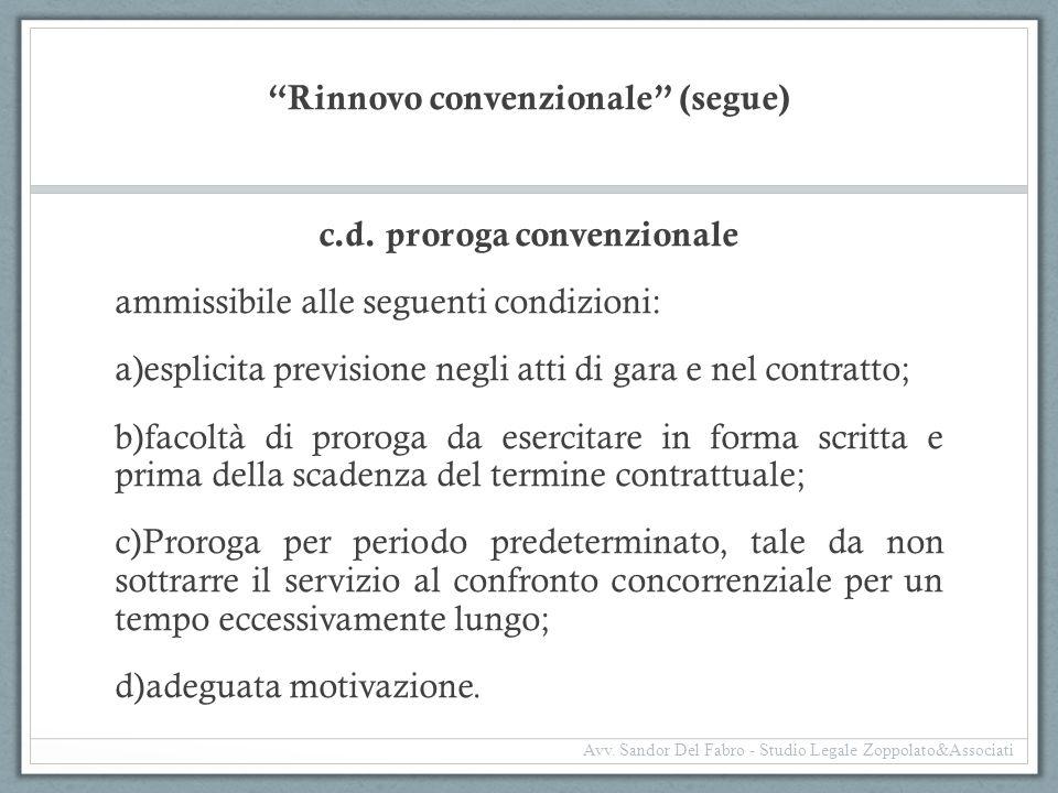 Rinnovo convenzionale (segue)
