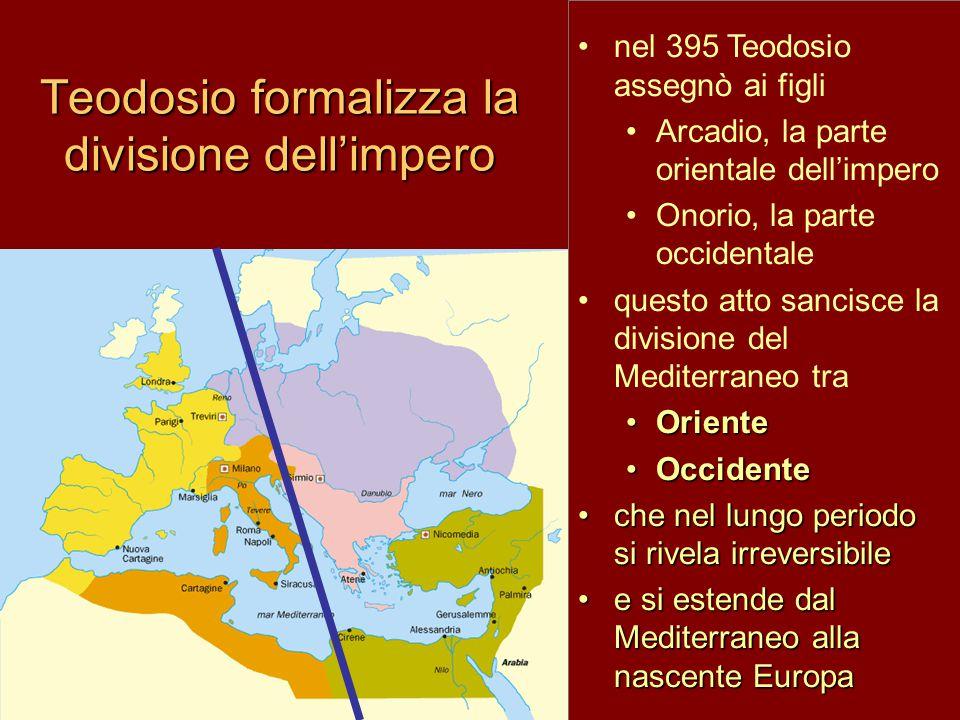 Teodosio formalizza la divisione dell'impero