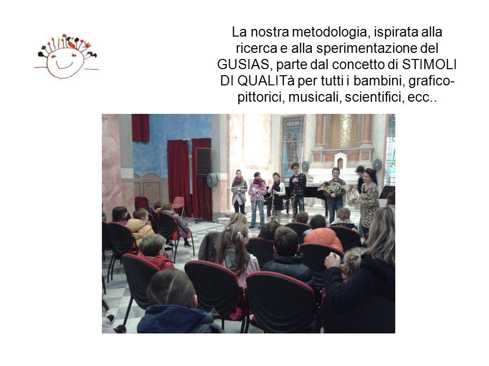 La nostra metodologia, ispirata alla ricerca e alla sperimentazione del GUSIAS, parte dal concetto di STIMOLI DI QUALITà per tutti i bambini, grafico-pittorici, musicali, scientifici, ecc..
