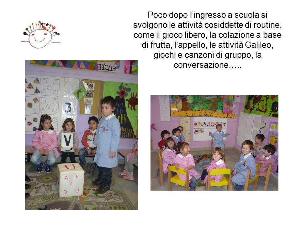 Poco dopo l'ingresso a scuola si svolgono le attività cosiddette di routine, come il gioco libero, la colazione a base di frutta, l'appello, le attività Galileo, giochi e canzoni di gruppo, la conversazione…..