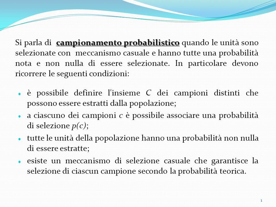 Si parla di campionamento probabilistico quando le unità sono selezionate con meccanismo casuale e hanno tutte una probabilità nota e non nulla di essere selezionate. In particolare devono ricorrere le seguenti condizioni:
