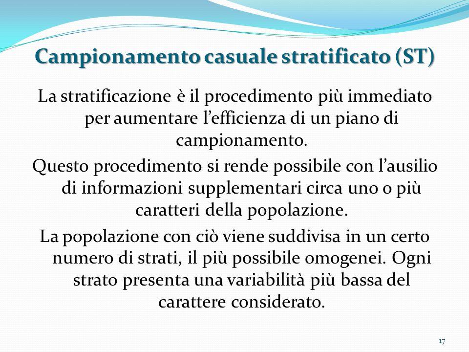 Campionamento casuale stratificato (ST)