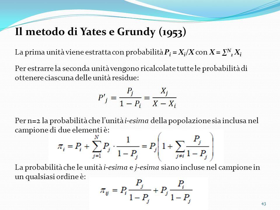 Il metodo di Yates e Grundy (1953)