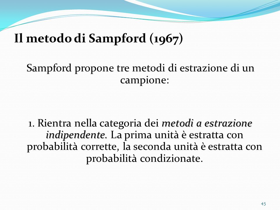 Il metodo di Sampford (1967)
