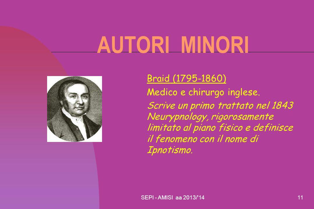 AUTORI MINORI Braid (1795-1860) Medico e chirurgo inglese.
