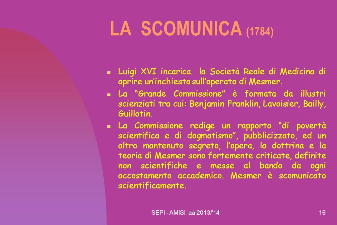 LA SCOMUNICA (1784) Luigi XVI incarica la Società Reale di Medicina di aprire un'inchiesta sull'operato di Mesmer.