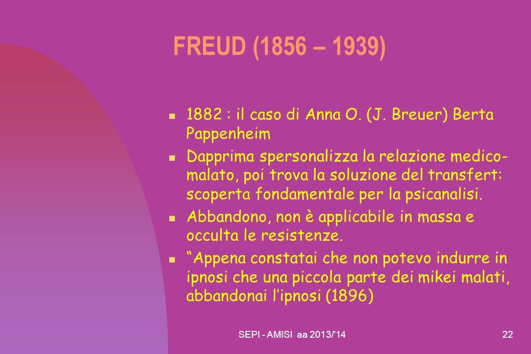 FREUD (1856 – 1939) 1882 : il caso di Anna O. (J. Breuer) Berta Pappenheim.