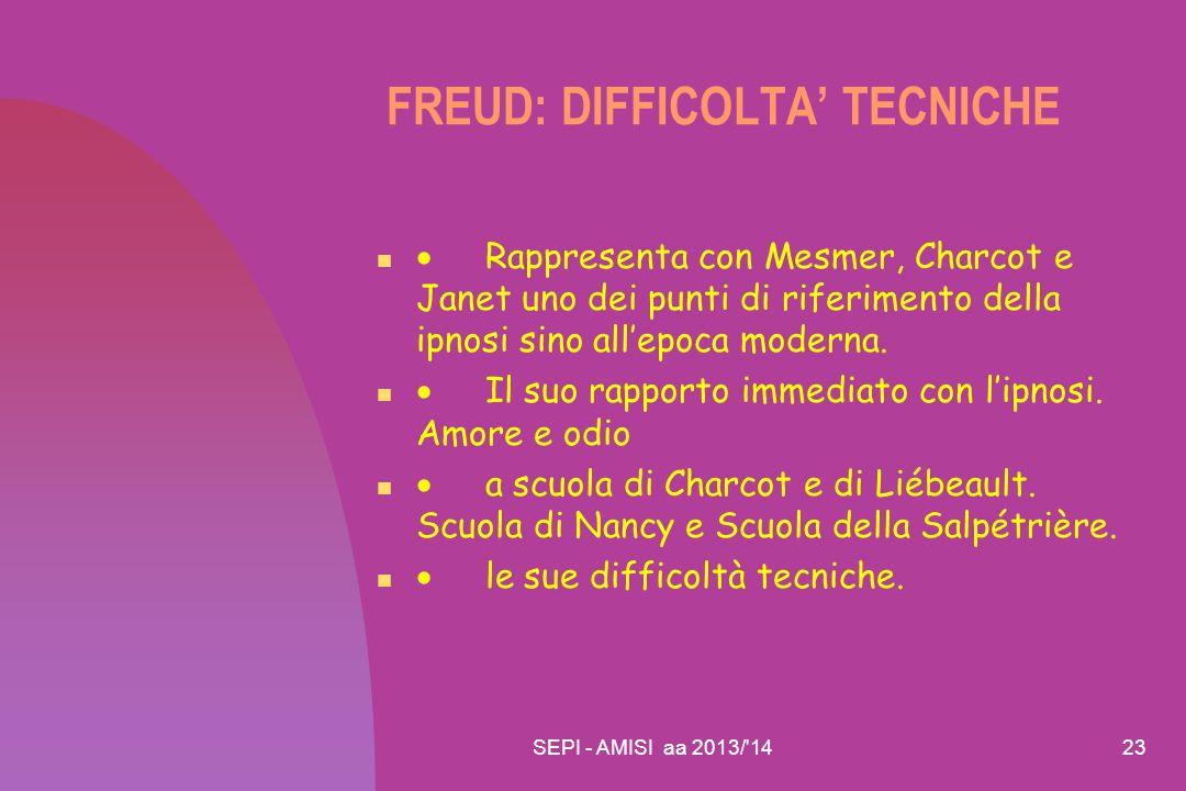 FREUD: DIFFICOLTA' TECNICHE