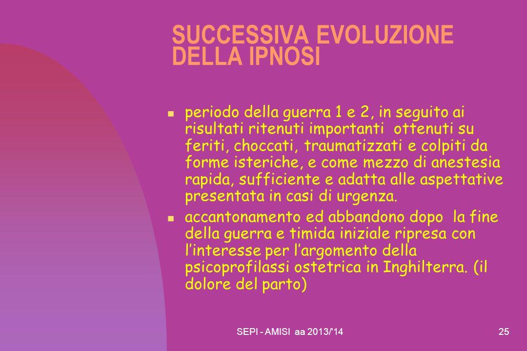 SUCCESSIVA EVOLUZIONE DELLA IPNOSI