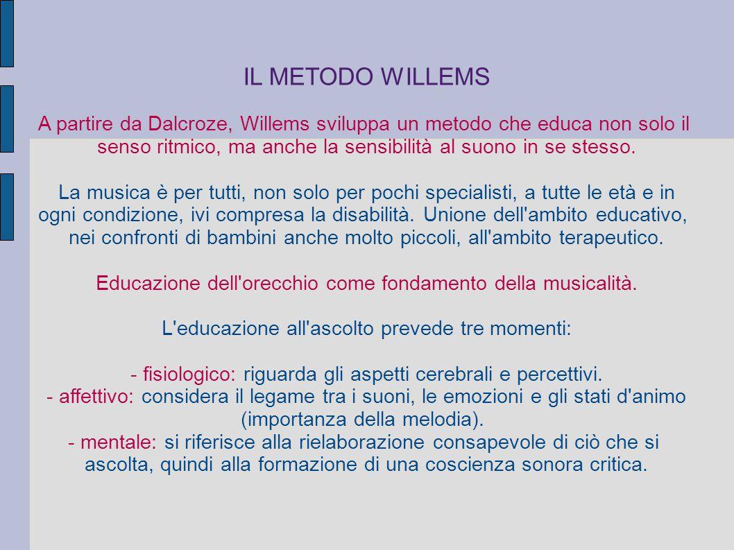 IL METODO WILLEMS A partire da Dalcroze, Willems sviluppa un metodo che educa non solo il.