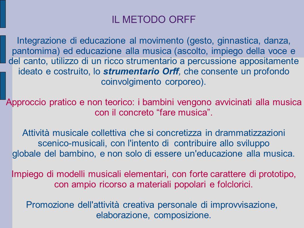 IL METODO ORFF Integrazione di educazione al movimento (gesto, ginnastica, danza,