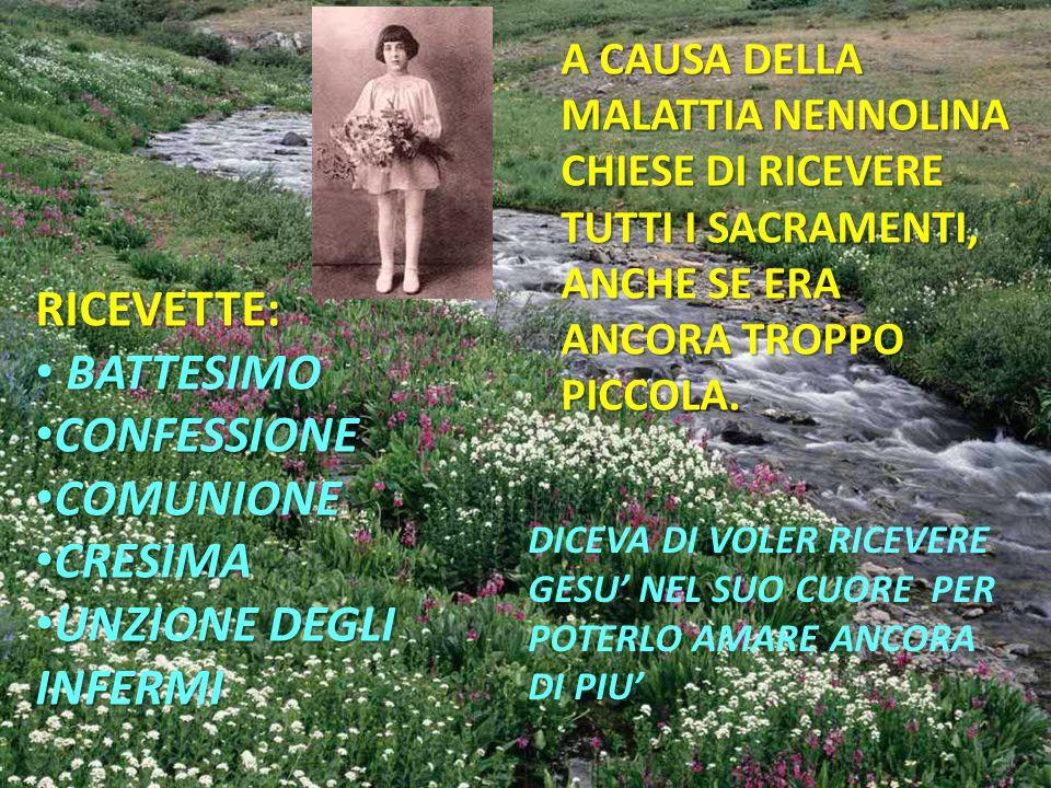RICEVETTE: BATTESIMO CONFESSIONE COMUNIONE CRESIMA