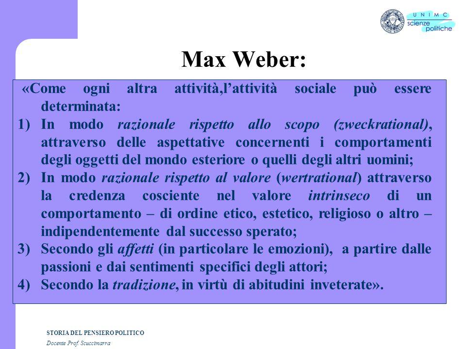 Max Weber: «Come ogni altra attività,l'attività sociale può essere determinata:
