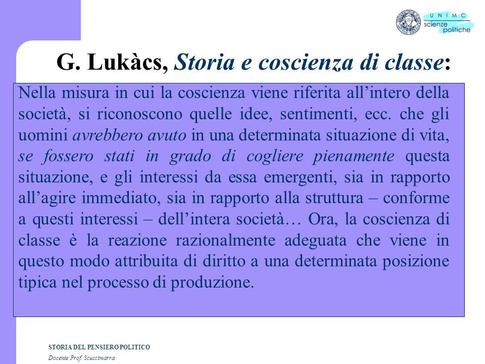 G. Lukàcs, Storia e coscienza di classe: