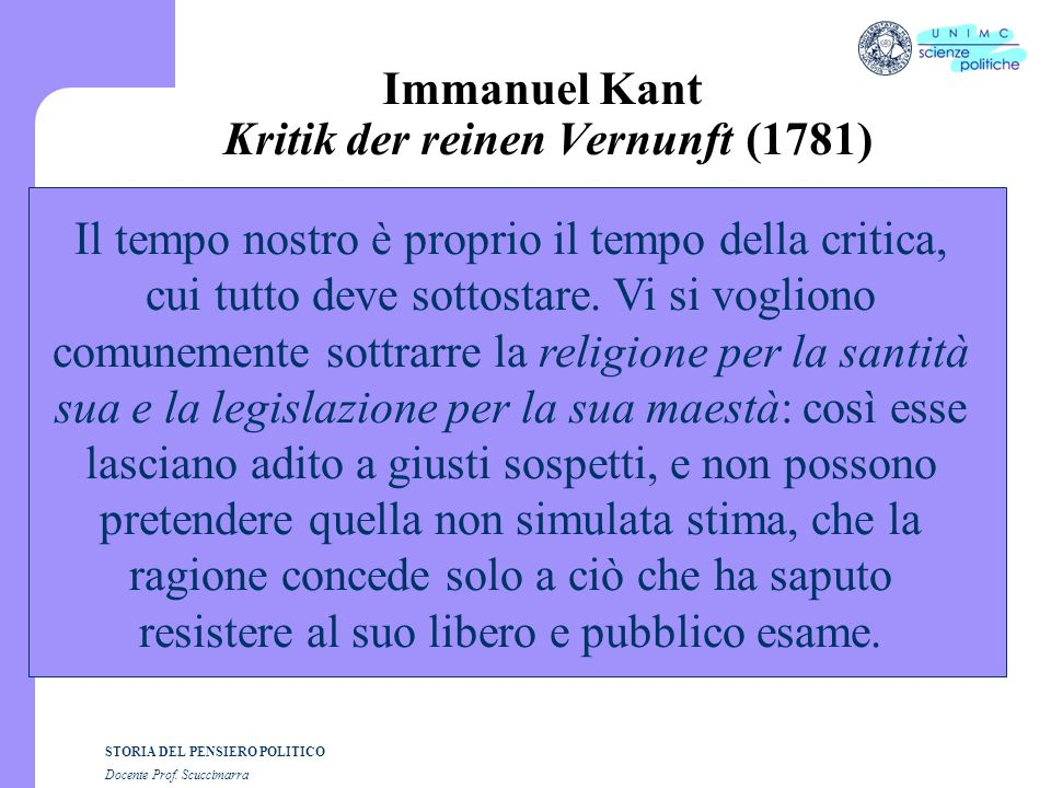 Immanuel Kant Kritik der reinen Vernunft (1781)