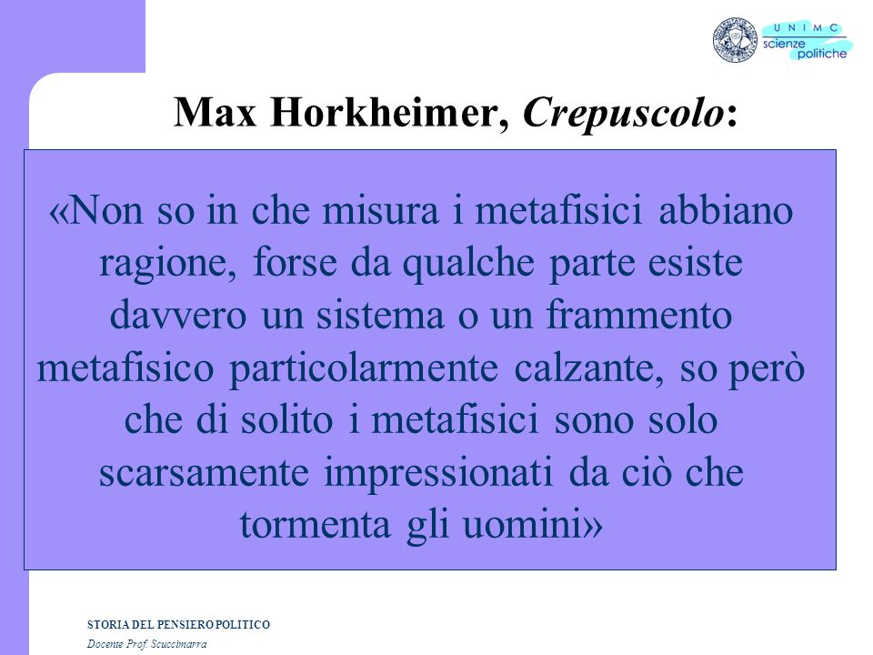 Max Horkheimer, Crepuscolo: