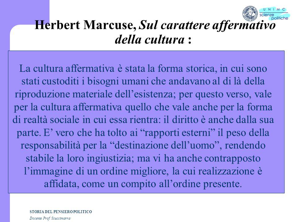 Herbert Marcuse, Sul carattere affermativo della cultura :