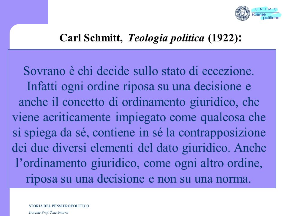Carl Schmitt, Teologia politica (1922):