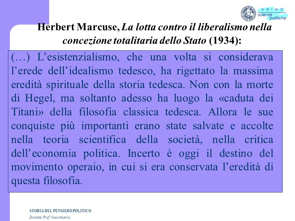 Herbert Marcuse, La lotta contro il liberalismo nella concezione totalitaria dello Stato (1934):