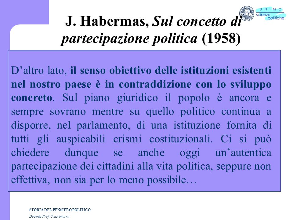J. Habermas, Sul concetto di partecipazione politica (1958)