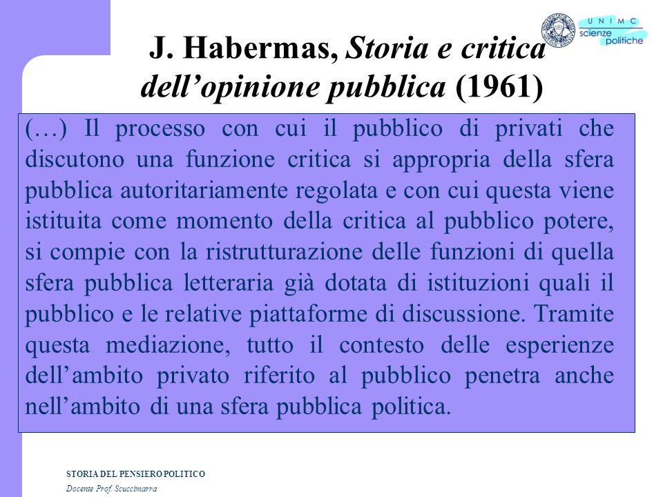 J. Habermas, Storia e critica dell'opinione pubblica (1961)