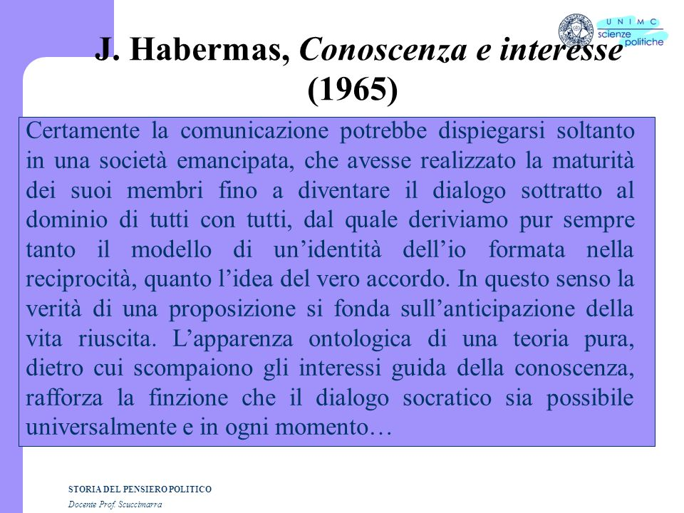 J. Habermas, Conoscenza e interesse (1965)