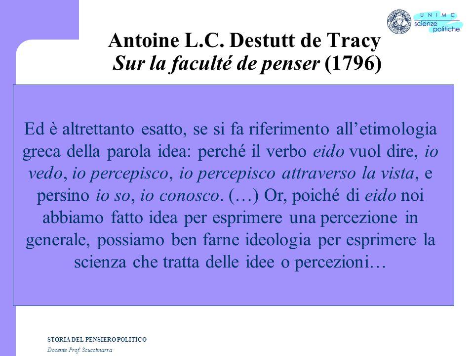 Antoine L.C. Destutt de Tracy Sur la faculté de penser (1796)