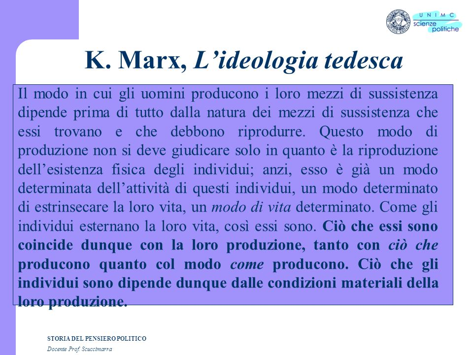 K. Marx, L'ideologia tedesca