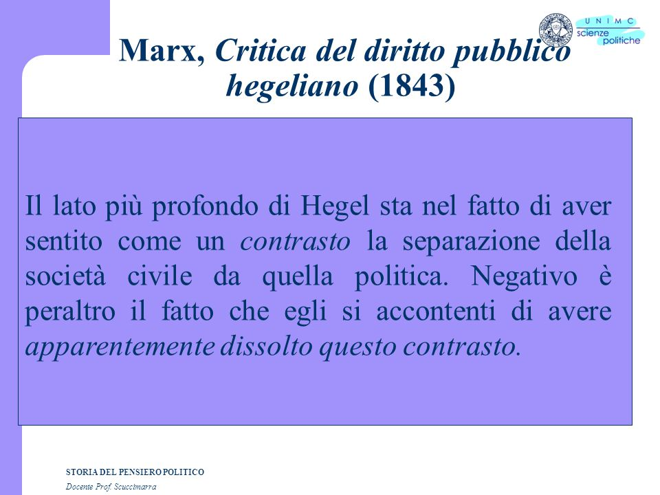 Marx, Critica del diritto pubblico hegeliano (1843)
