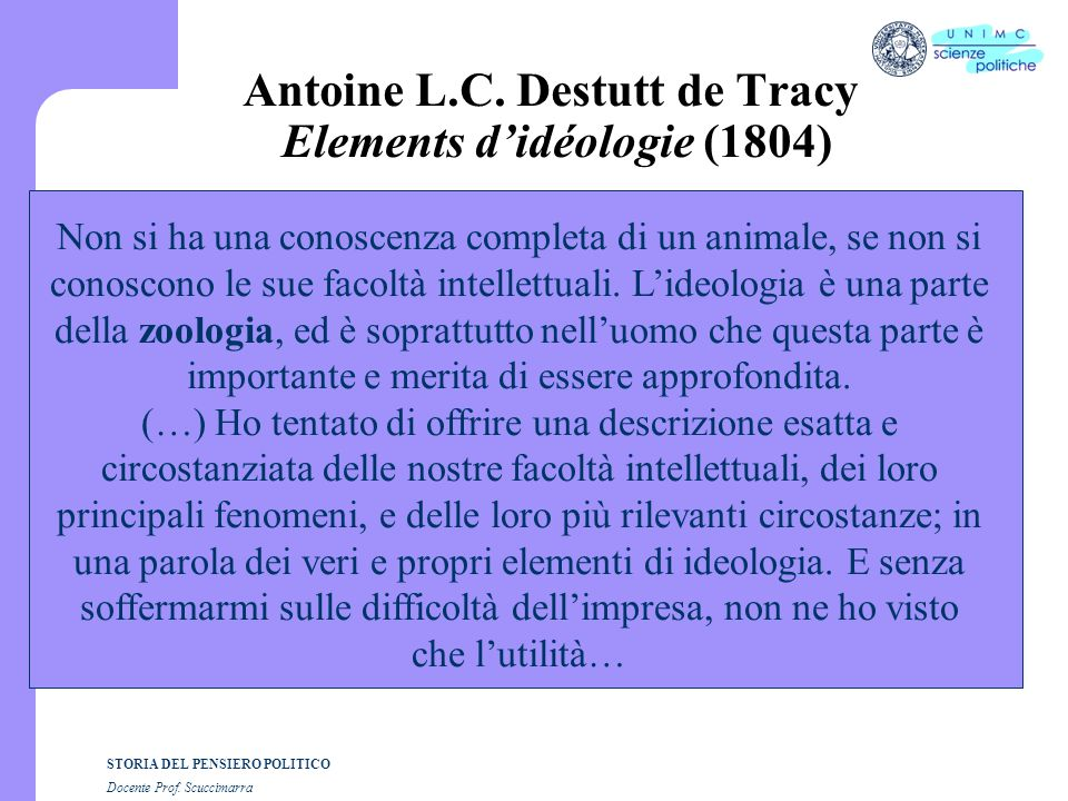 Antoine L.C. Destutt de Tracy Elements d'idéologie (1804)