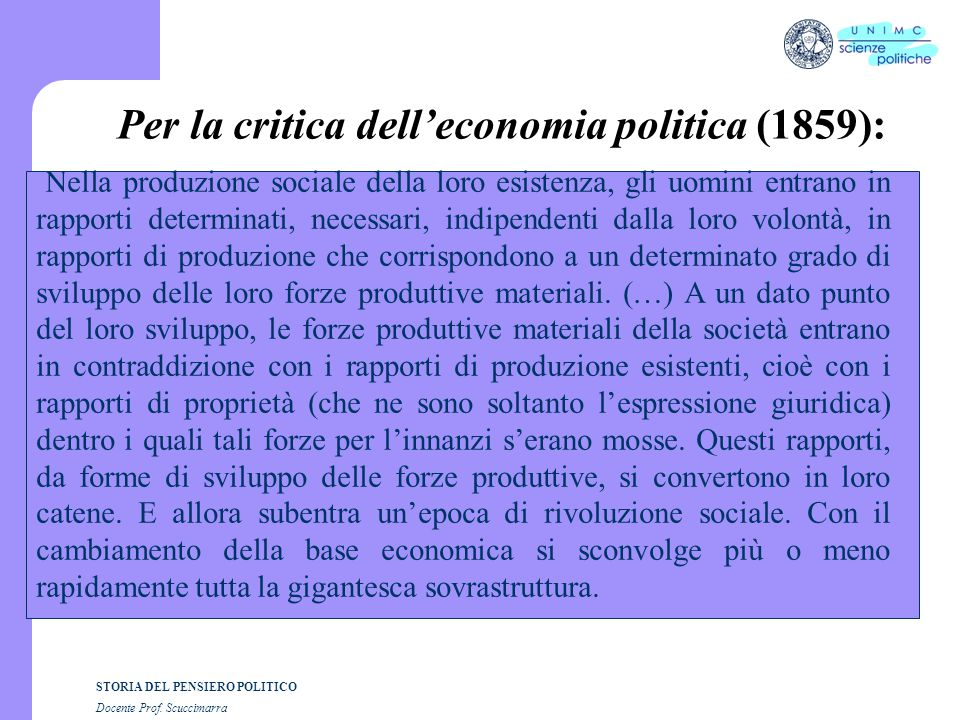 Per la critica dell'economia politica (1859):