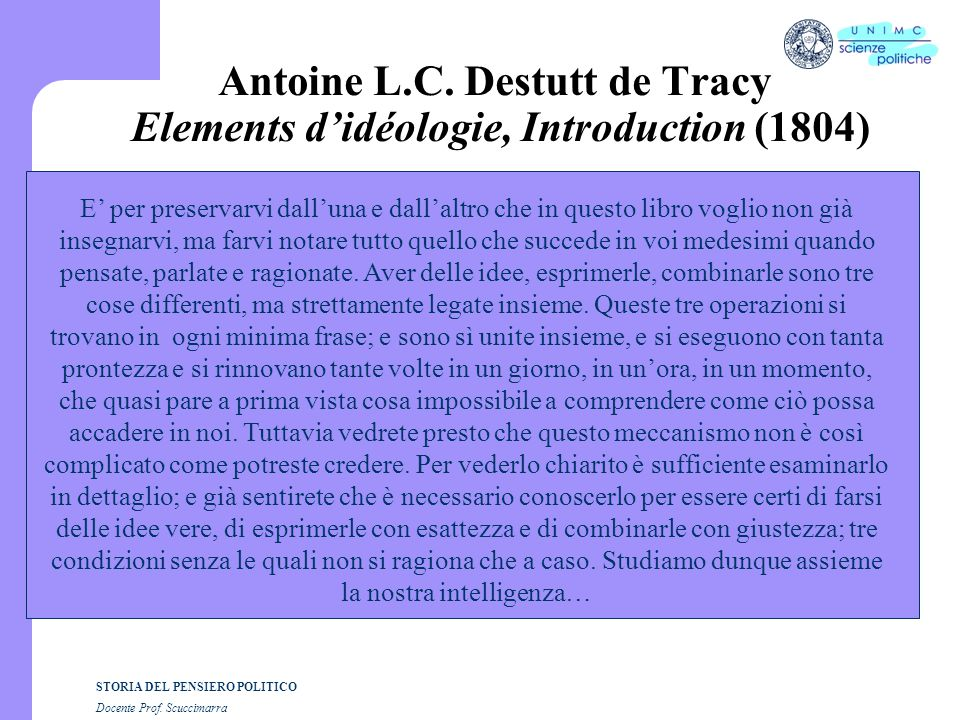 Antoine L.C. Destutt de Tracy Elements d'idéologie, Introduction (1804)