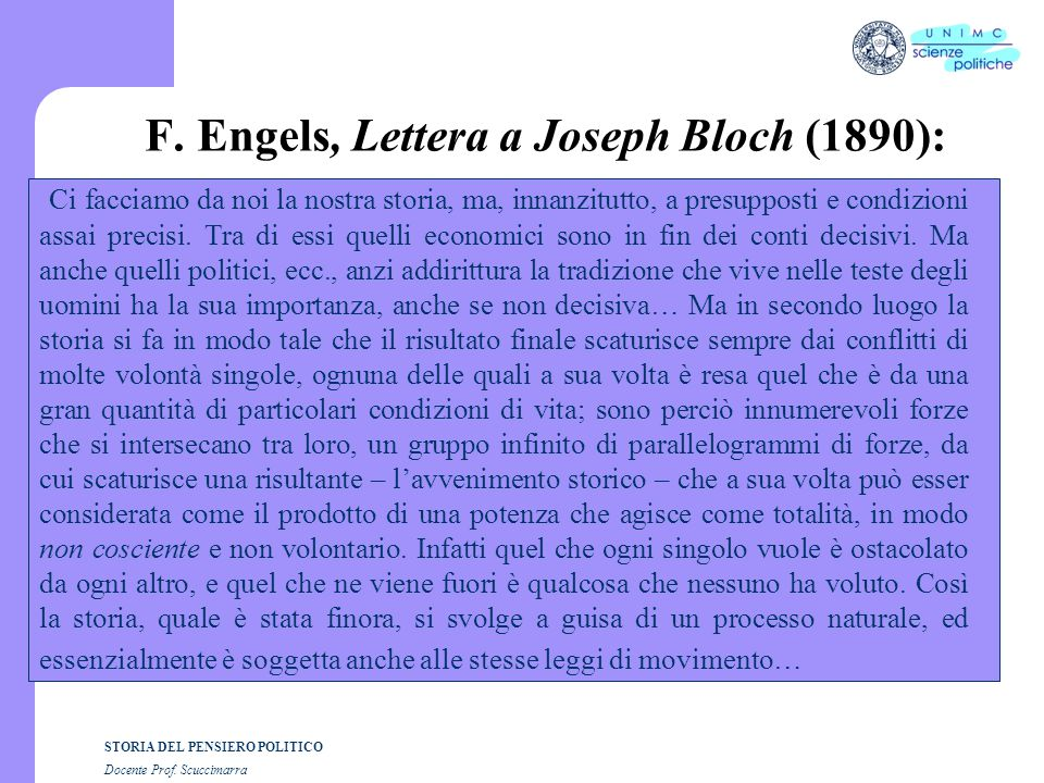 F. Engels, Lettera a Joseph Bloch (1890):