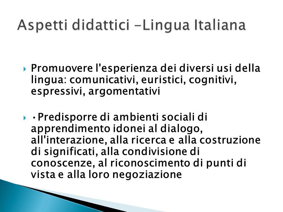 Aspetti didattici -Lingua Italiana