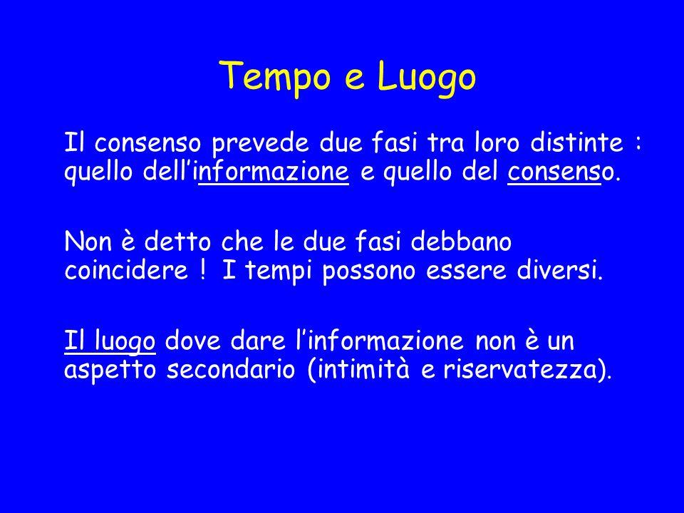 Tempo e Luogo Il consenso prevede due fasi tra loro distinte : quello dell'informazione e quello del consenso.