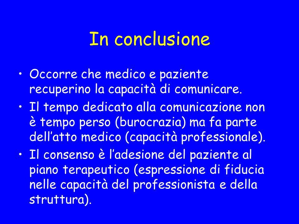 In conclusione Occorre che medico e paziente recuperino la capacità di comunicare.