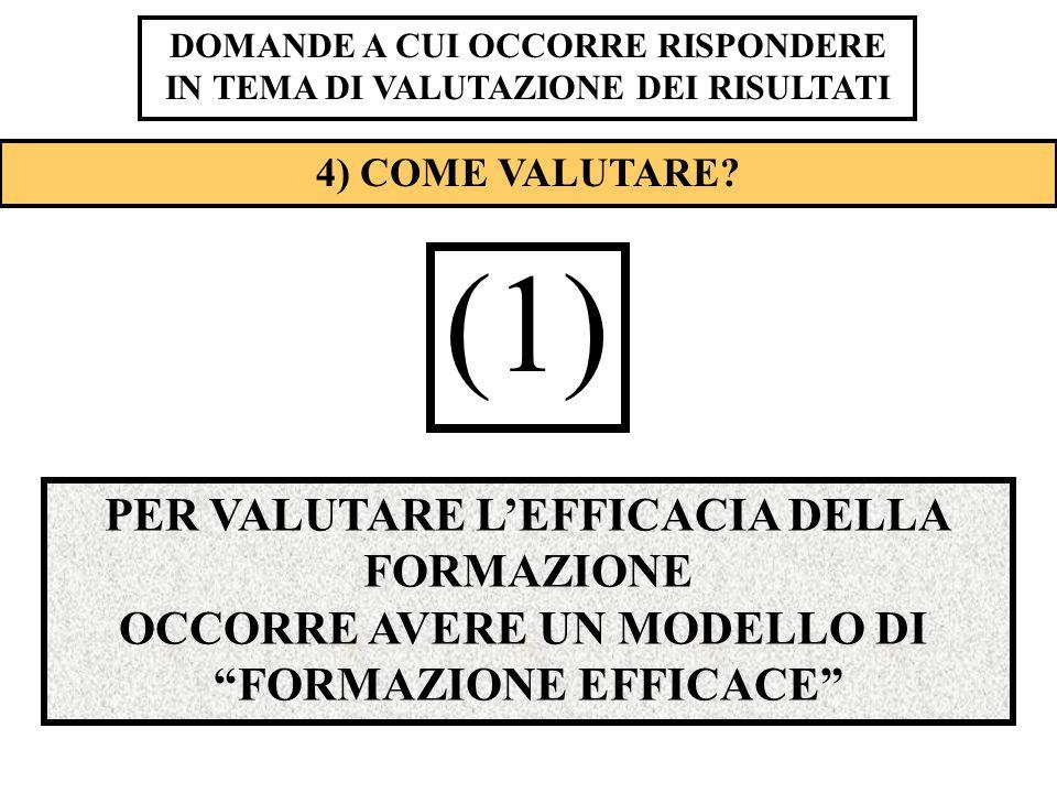 (1) PER VALUTARE L'EFFICACIA DELLA FORMAZIONE