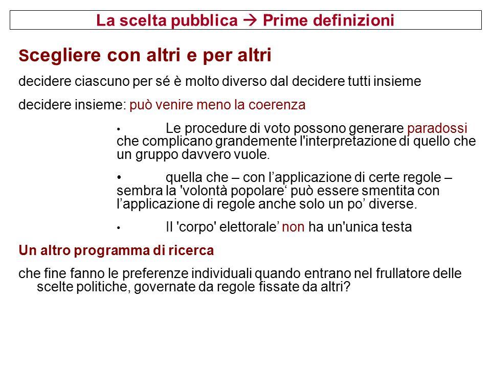 La scelta pubblica  Prime definizioni