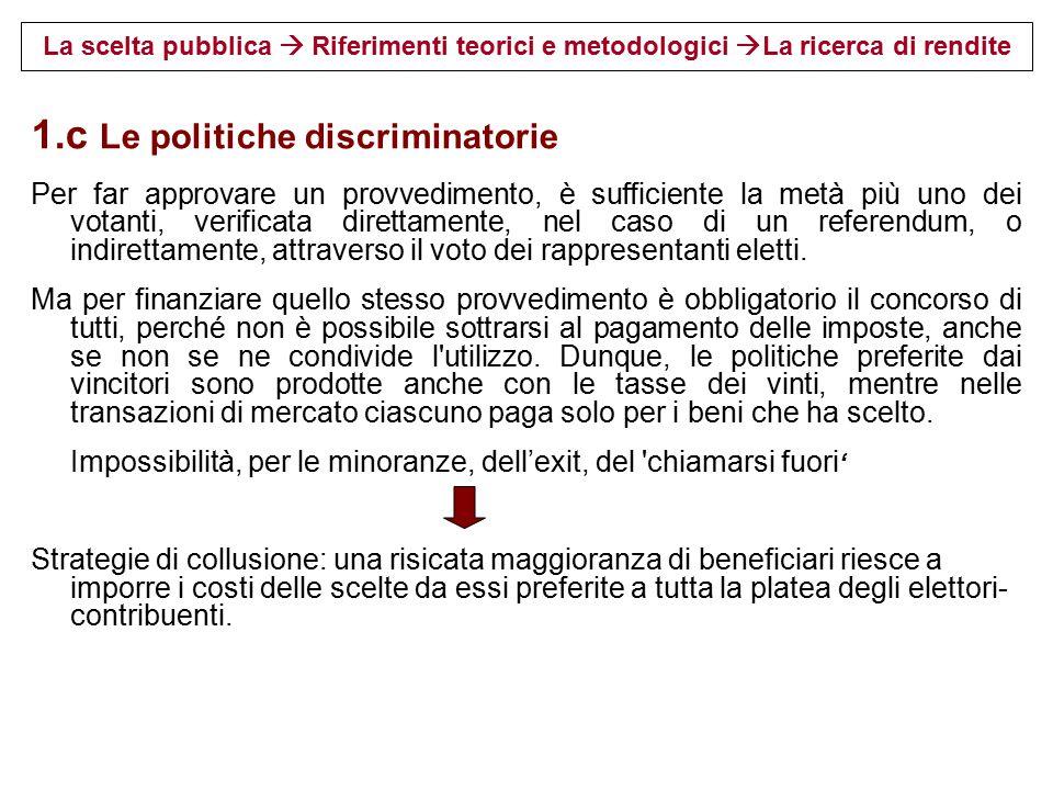 1.c Le politiche discriminatorie
