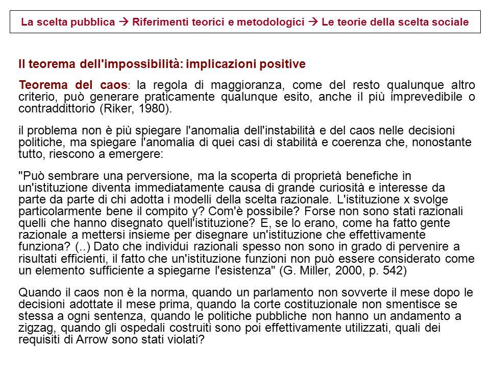 Il teorema dell impossibilità: implicazioni positive