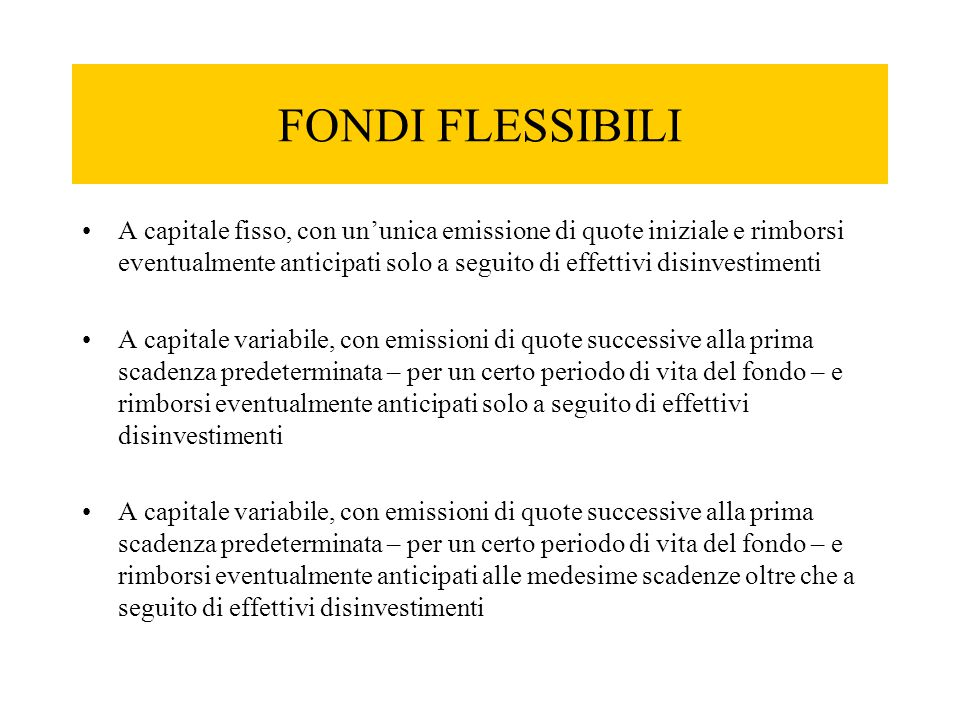 FONDI FLESSIBILI