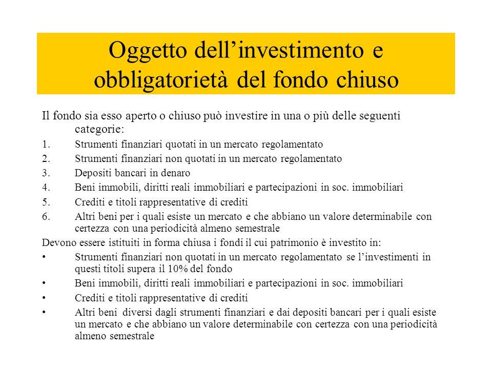 Oggetto dell'investimento e obbligatorietà del fondo chiuso