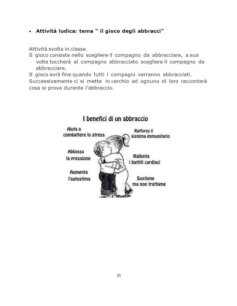 Attività ludica: tema il gioco degli abbracci