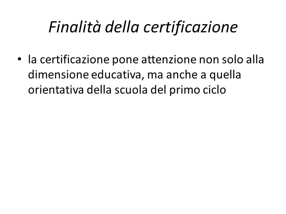 Finalità della certificazione