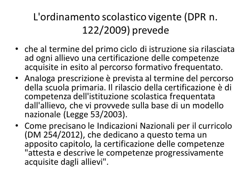 L ordinamento scolastico vigente (DPR n. 122/2009) prevede